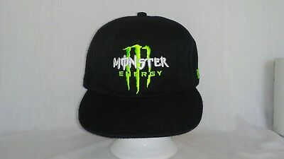 Monster Energy Ball Cap Sz. 8 Black w/Lime and White Embroidery