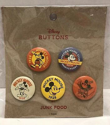 Junk Food Disney Mickey Mouse 5 Button Set Pin-back 2018 Disney 90th Anniversary
