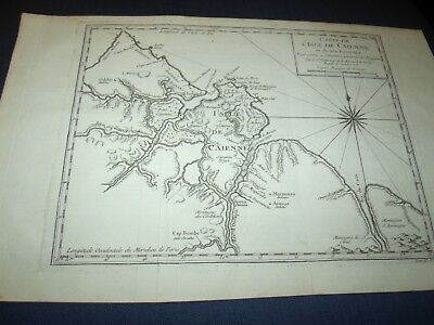 1753 Bellin Antique French Map of The Island of Caienne French Guyana