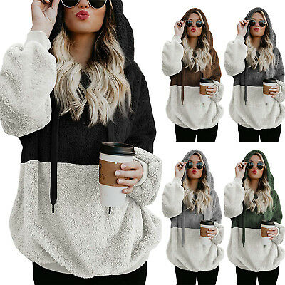 Plus Size Warm Fleece Hooded Hoody Sweatshirt Hoodies Womens Winter Jumper Tops