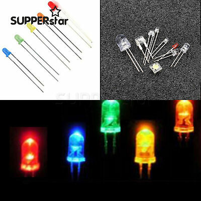 LED 3/5/8/10mm Yellow/Blue/Green/Red/White Color Clear/DIFFUSED Wide Light ASS