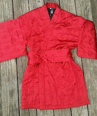 Vintage kimono robe Asian inspired quilted embroidered costume or house coat med