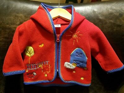 HANNA ANDERSSON Farm ANIMALS zip Fleece Jacket Baby SZ 50 (0-3 months)