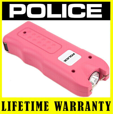 Professional Police Stun Gun 519 Pink Rechargeable With LED Flashlight + Holster