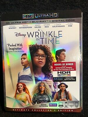A Wrinkle In Time (4K Uhd+Blu Ray) New! W/ Lenticular Slipcover *fast Free Ship*