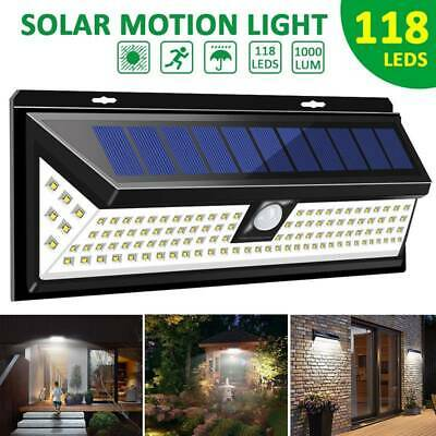 118/54 LED Solar Powered Motion Sensor Wall Security Light Lamp Garden Outdoor