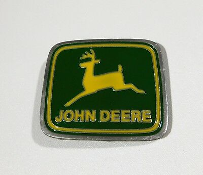 John Deere Belt Buckle Vintage Paul Frank Made in the USA Shiny Green Yellow