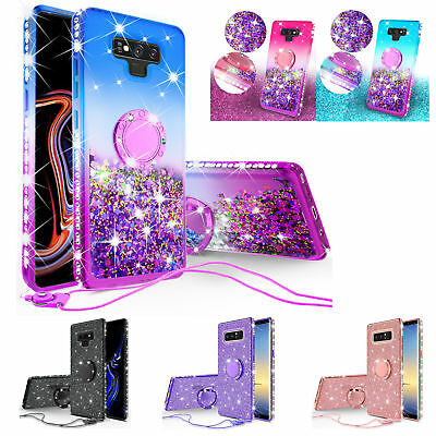 For Samsung Galaxy Note 9 Note 8 S9 S8 Plus Glitter Liquid Bling Case Cover