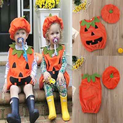 UK Kid Baby Girl Boy Pumpkin Top Tshirt Outfit Party Fancy Dress Clothes Costume