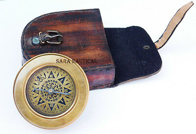 Brass Compass with Flip Out Magnifier w Leather Case Antique Travel Accessories