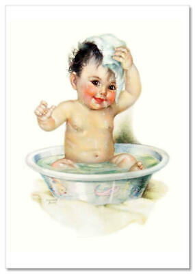 LITTLE GIRL Washing Soap Watering POT by George Leslie NEW Modern Postcard