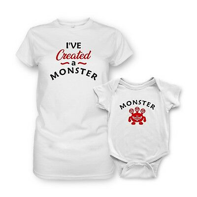 Short Sleeve Baby Vests Moms T-shirt Set Funny Printed Created a MONSTER MONSTER
