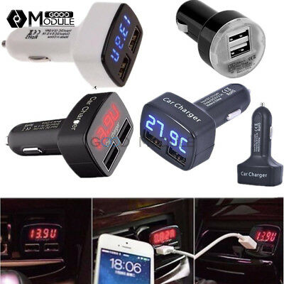 5V 3.1A 4 In 1 LCD Dual USB Car Charger Adapter Socket Lighter For Cell Phone