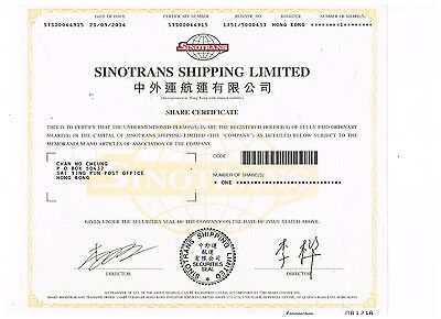 Sinotrans Shipping Ltd., Hong Kong share certificate, see scan, uncancelled