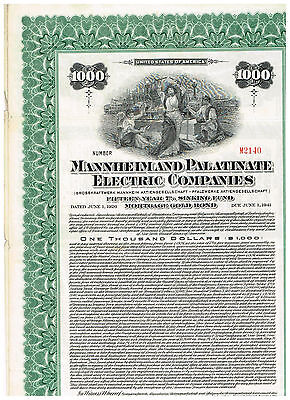 Mannheim and Palatinate Electric Co., 1926, 1000$ Gold-Bond