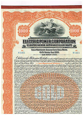 Electric Power Corp., 1925, 1000$  Gold-Bond