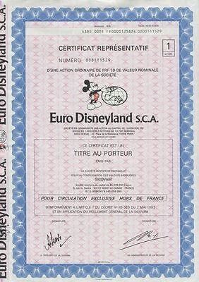 Euro Disneyland S.C.A., 1983, uncancelled/ coupons, Mickey Mouse Vignette