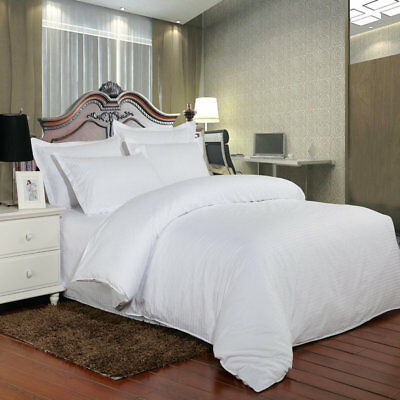100%Luxury Hotel Quality Cotton Rich Stripe Quilt Duvet Cover 200TC Bedding Set