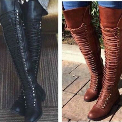 1d633c98e16 Womens Over the Knee Lace Up Bandage Thigh High Combat Low Heel Boots Flat  Shoes