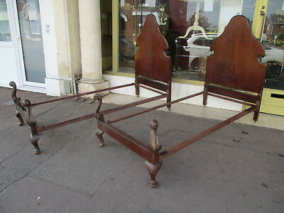 Pair Of Vintage Barn Find  Bedsteads / Pair Of Wooden Single Vintage Bed Frames