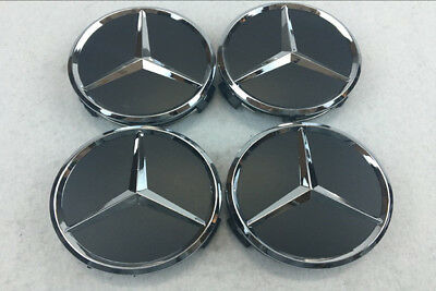 4x MERCEDES BENZ ALLOY WHEEL CENTRE CENTER CAPS BLACK 75MM A B C E S ML S Class.