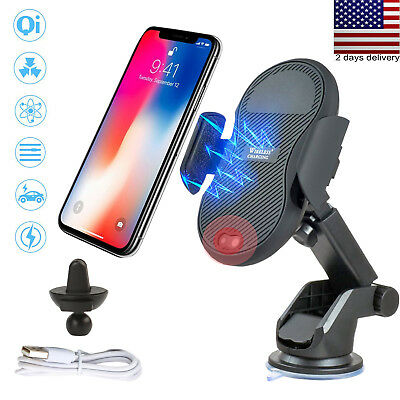 10W QI Wireless Fast Charger Car Mount Holder For iPhone X 8 S8 Samsung Note 8