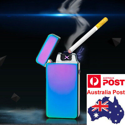 USB Rechargeable Electric Cigarette Lighter Pulse Windproof Flameless Metal AU