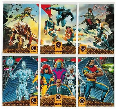 1994 X-Men Fleer Ultra Marvel Blue Gold Team Triptych 6 Card Insert Chase Set