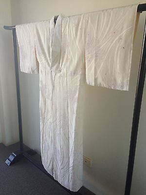 Floral Silk Orchids Japanese Vintage Kimono Costume Robe Hand Made Old Kyoto