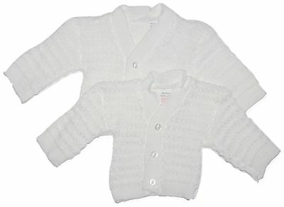 Baby Girl Boy Knitted Cardigans White Pink Blue TWIN PACK Newborn - 9 Months