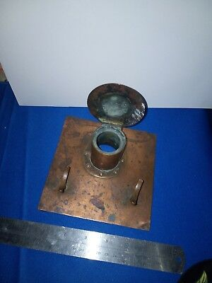 Copper inkwells c1900 arts and crafts x2