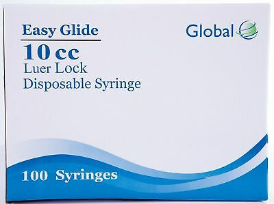 10CC Global Syringe with Luer Lock, 10ml - 100 Sterile Syringes (No needle)