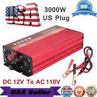 3000W WATT Peak Car Power Inverter DC 12V to AC 110V Dual Converter Charger MA