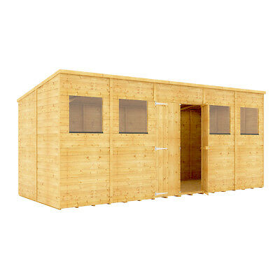 16x6 Pent Wooden Garden Shed Tg Shiplap Cladding Central Double Doors 16ftx6ft