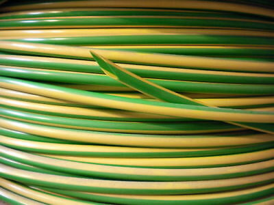 PVC Earth Cable Wire Socket Electrical Sleeving Green/Yellow Various Lengths