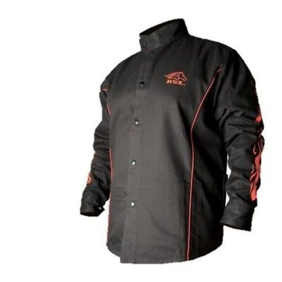 BSX Flame Resistant Welding Jacket Black Red Flames, Size 2X-Large