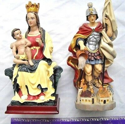 Vintage Mother Mary Madonna with Child Jesus + Saint Florian Statue Figure Doll