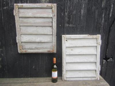 VINTAGE WOODEN SHUTTERS WINDOW 59x93cm  ANTIQUE FRENCH  RECLAIMED   FREE post