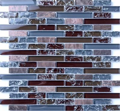 White Crackle and Plain Glass Mosaic Wall Tile Sample 150x100x8mm MT0140