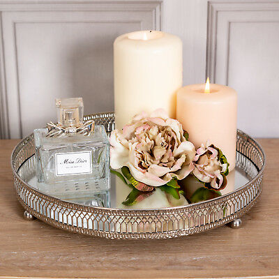 Large Silver Mirrored Tray Ornate Wedding Table Centre Candle Plate Chic Gift