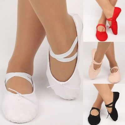 Ballet Dance Shoes Yoga Gymnastics Shoes Adult Child Kid Canvas Crossed Elastics