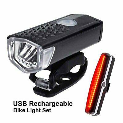 USB Rechargeable Road Mountain Bike Bicycle LED Headlamp Front Rear Tail Light