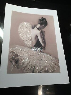 Glitter ballerina angel wing picture A4 print only NO FRAME glitter diamond Dust