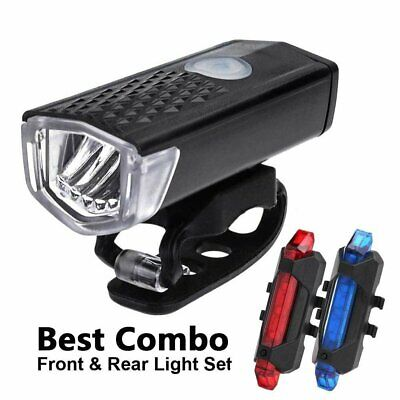 USB Rechargeable MTB Road  Bike Bicycle LED Headlamp Front Rear Tail Light Set