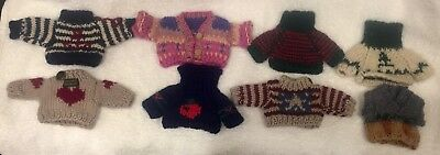 Eight (8) Knitted Sweaters for Little Bears & Dolls Christmas Sewing & Crafts