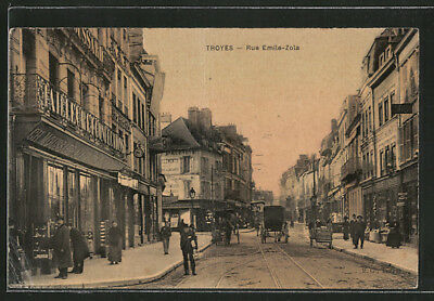 CPA Troyes, Rue Emile-Zola, attelages