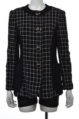 Saks Fifth Avenue Jacket Size M Black White Checkered Basic Blazer Wool