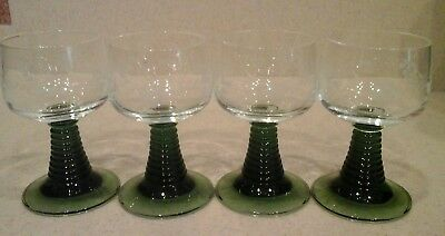 4 Vintage German Roemer Wine Glass Green Beehive Stem Etched Grapes