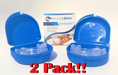2 Pack Snore B Gone Anti-Snoring Device, Safe Snore Relief, Reduction, w/ Case!