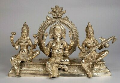 "God Ganesh Saraswati Lakshmi Statue Solid Brass 18""Tall 26"" Long"